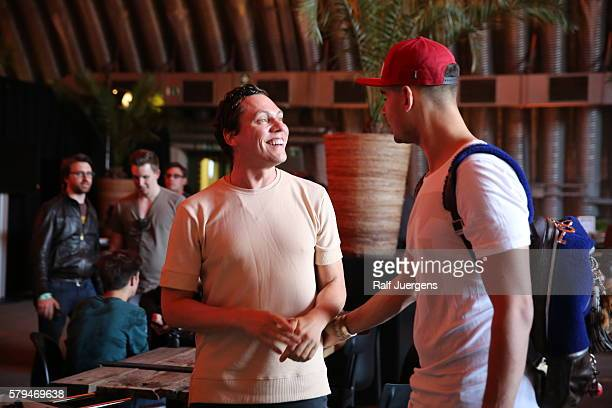 DJs Tiesto and Afrojack are seen during the ParookaVille Festival on July 15 2016 in Weeze Germany