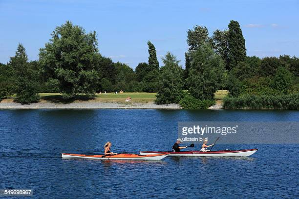 DKrefeldNorthrhineWestphalia NRW DKrefeldUerdingen Elfrather See Elfrath Lake two canoes