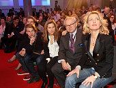 Chairwoman Maria Furtwaengler her husband Hubert Burda publisher and DLDCoChairman and their children Elisabeth Burda and Jacob Burda attend the...