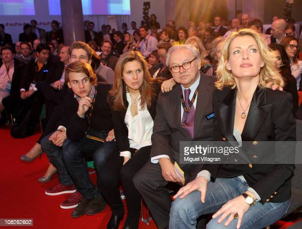 Chairwoman Maria Furtwaengler her husband Hubert Burda publisher and DLDCoChairman and their children Elisabeth Burda and Jacob Burda attend the...