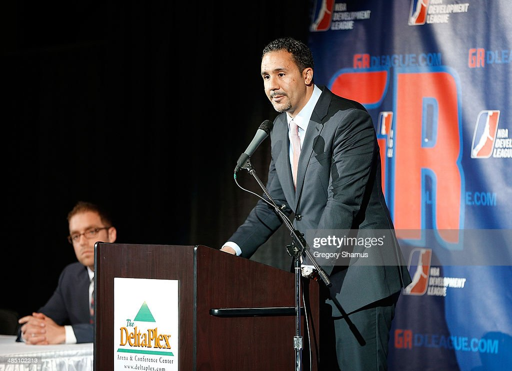 League President Dan Reed talks during a press conference to announce a NBA Developmental League franchise relocating to Grand Rapids, Michigan on April 14, 2014 at the DeltaPlex Arena in Grand Rapids, Michigan.