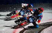 Dmirti Khomitsevitsj and Daniil Ivanov in action during Ice Speedway World Championship Final on March 13 2016 in Assen Netherlands
