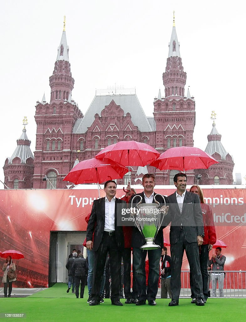 Dmitri Alenichev, Davor Suker, Luis Figo poses for photo during the UEFA Champions League Trophy Tour 2011 on September 23, 2011 in Moscow, Russia.