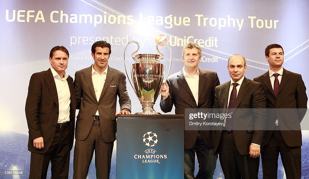 Dmitri Alenichev, Luis Figo and Davor Suker, Michail Alexeev and Thomas Giordano poses for photo during the UEFA Champions League Trophy Tour 2011 on September 23, 2011 in Moscow, Russia.