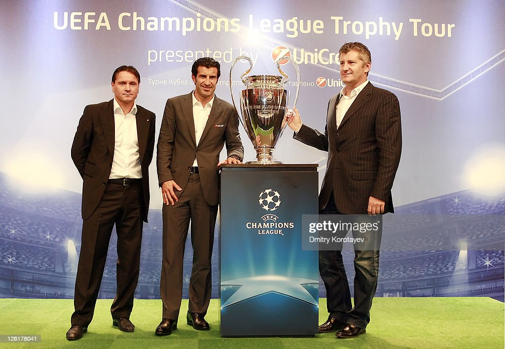 Dmitri Alenichev, Luis Figo and Davor Suker poses for photo during the UEFA Champions League Trophy Tour 2011 on September 23, 2011 in Moscow, Russia.