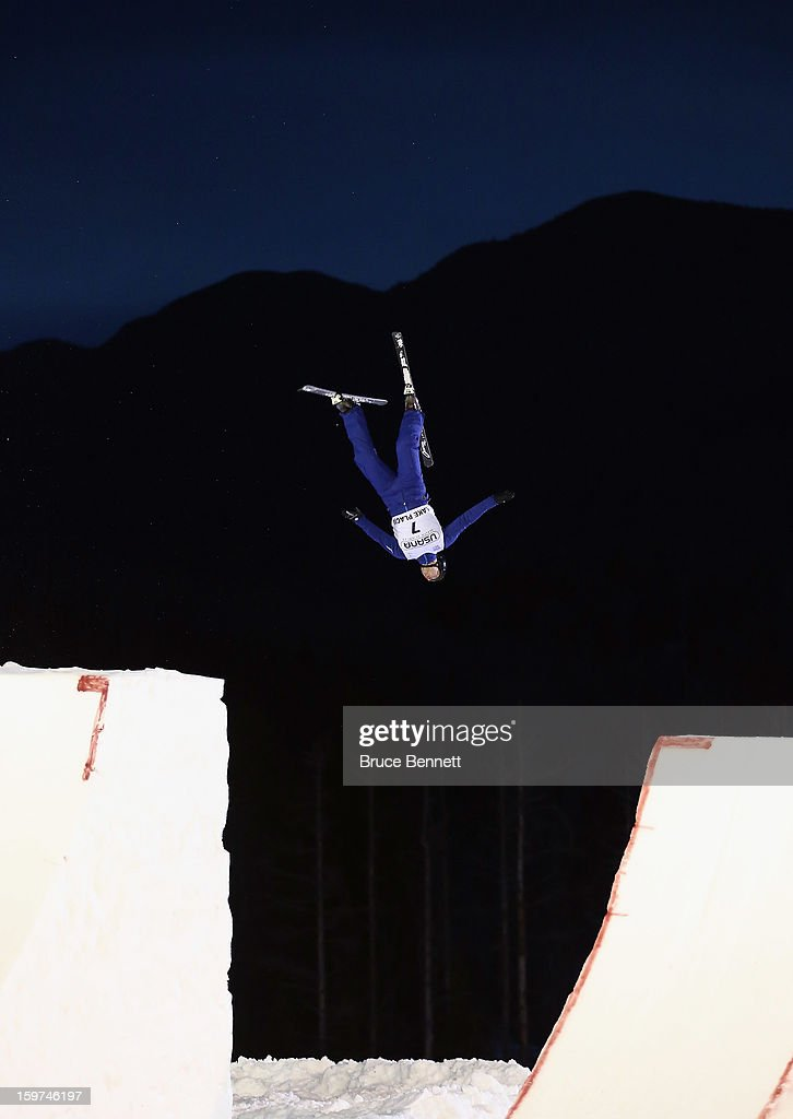 Dmitri Dashinski 7 of Belarus jumps in the qualification round at the USANA Freestyle World Cup aerial competition at the Lake Placid Olympic Jumping Complex on January 19, 2013 in Lake Placid, New York.
