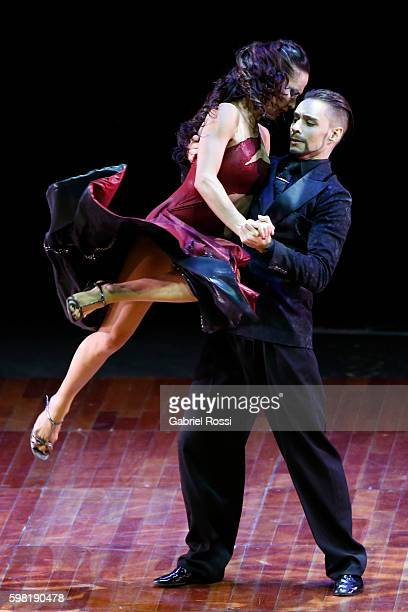 Dmitri Kuznetsov and Olga Nikolaeva of Russia dance during the Stage Tango Final as part of Buenos Aires Tango Festival World Championship 2016 at...