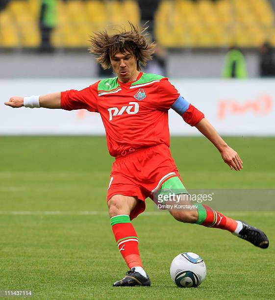 Dmitri Loskov of FC Lokomotiv Moscow in action during the Russian Football League Championship match between FC Lokomotiv Moscow and FC Rostov...