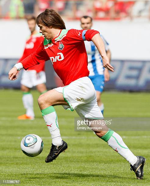 Dmitri Loskov of FC Lokomotiv Moscow in action during the Russian Football League Championship match between FC Lokomotiv Moscow and FC Volga Nizhny...