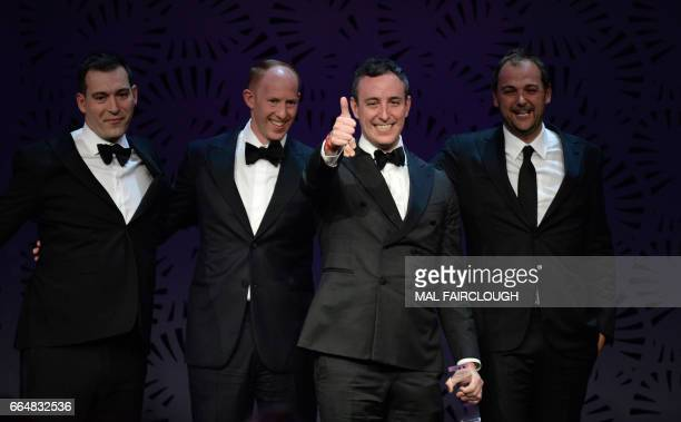 Dmitri Magi Billy Peelle Will Guidara and Daniel Humm celebrate after winning the Worlds Best Restaurant award at the World's 50 Best Restaurants...