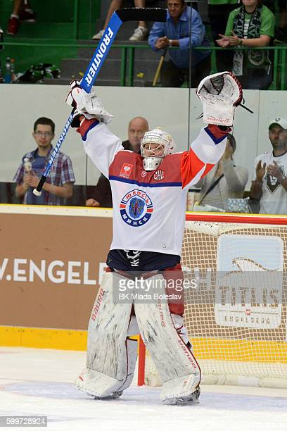 Dmitri Milchakov after the Champions Hockey League match between BK Mlada Boleslav and Yunost Minsk at SKOEnergo Arena on September 6 2016 in Mlada...