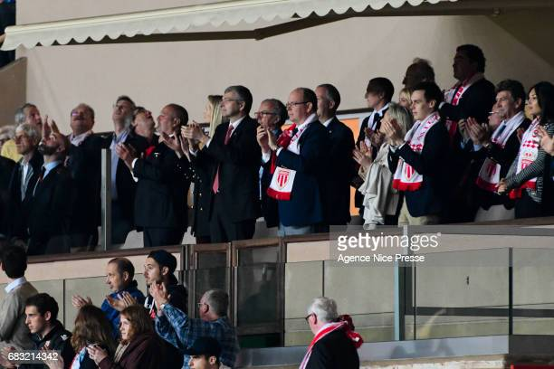 Dmitri Rybolovlev The Prince Albert of Monaco and Louis Ducruet during the Ligue1 match between As Monaco and Lille OSC at Louis II Stadium on May 14...