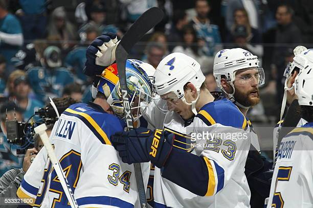 Dmitrij Jaskin congratulates Jake Allen of the St Louis Blues in game four of the Western Conference Finals during the 2016 NHL Stanley Cup Playoffs...
