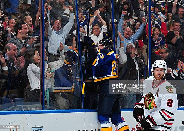 Dmitrij Jaskin of the St Louis Blues celebrates after scoring a goal against the Chicago Blackhawks on April 9 2015 at the Scottrade Center in St...