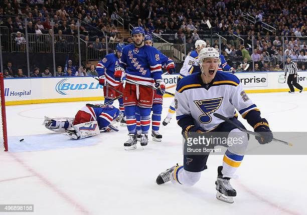 Dmitrij Jaskin of the St Louis Blues celebrates his goal at 1640 of the first period against the New York Rangers at Madison Square Garden on...