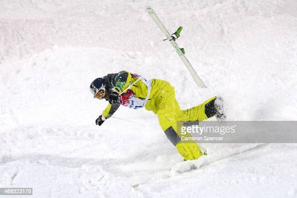Dmitriy Barmashov of Kazakhstan crashes out in the Men's Moguls Qualification on day three of the Sochi 2014 Winter Olympics at Rosa Khutor Extreme...