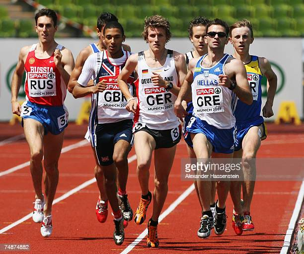 Dmitriy Bogdanov of Russia Michael Rimmer of Great Britain Robin Schembera of Germany and Efthimios Papadopoulos of Greece compete in the Men's 800m...
