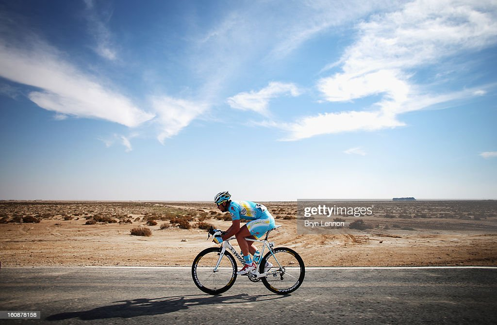 Dmitriy Gruzdev of Kazachstan and the Astana Pro Team in action during stage five of the 2013 Tour of Qatar from Al Zubara Fort to Madinat Al Shamal on February 7, 2013 in Madinat Al Shamal, Qatar.