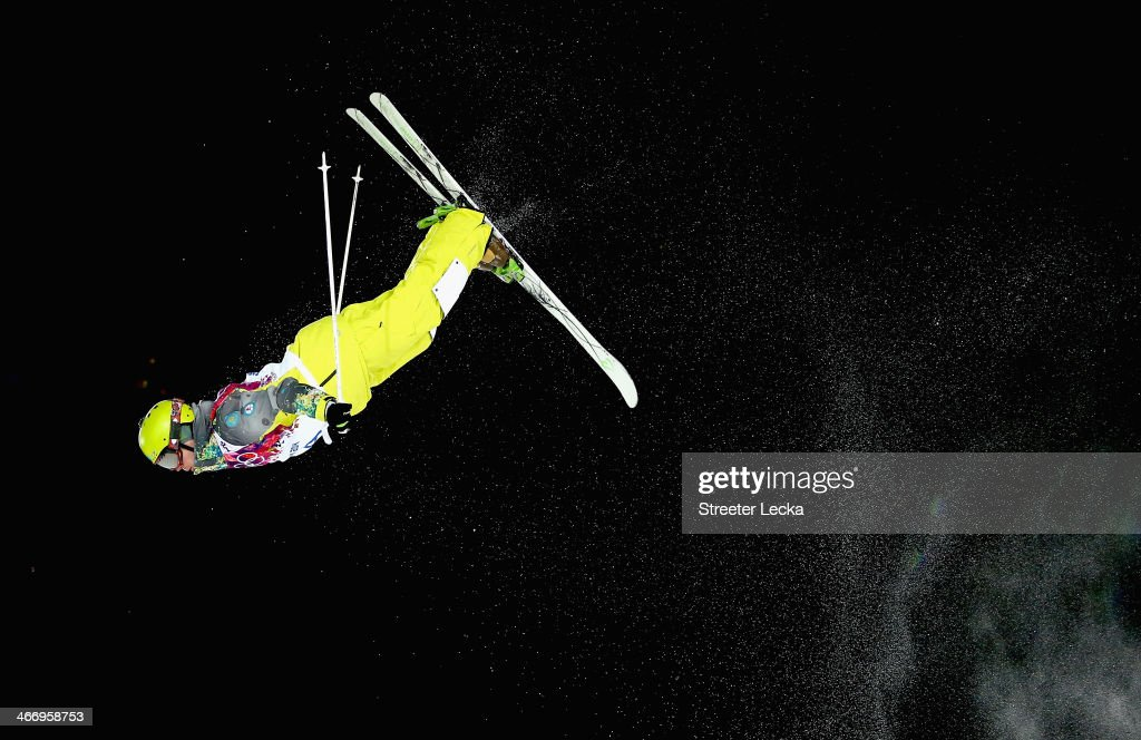 Dmitriy Reiherd of Kazakhstan trains during moguls practice at the Extreme Park at Rosa Khutor Mountain ahead of the Sochi 2014 Winter Olympics on February 5, 2014 in Sochi, Russia.