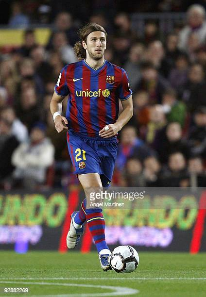 Dmitro Chygrinskiy in action during the La Liga match between Barcelona and Mallorca at the Camp Nou Stadium on November 7 2009 in Barcelona Spain...