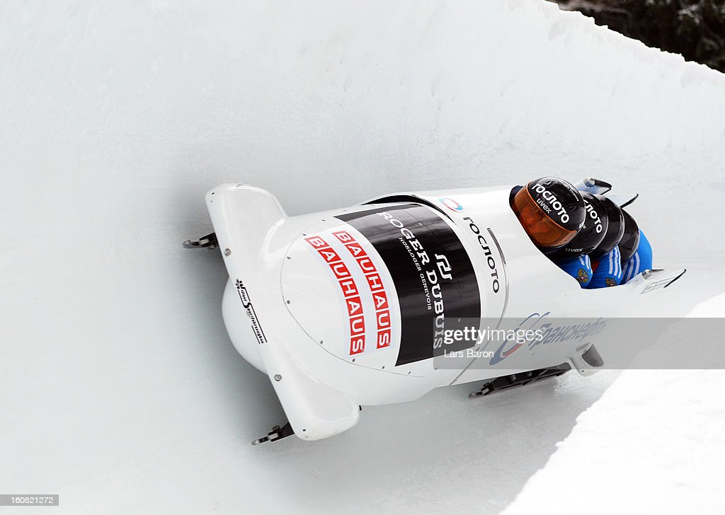 Dmitry Abramovitch, Aleksei Pushkarev, Dmitry Stepushkin and Alexey Voeveda of Russia compete during the Four Men Bobsleigh heat one of the IBSF Bob & Skeleton World Championship at Olympia Bob Run on February 2, 2013 in St Moritz, Switzerland.