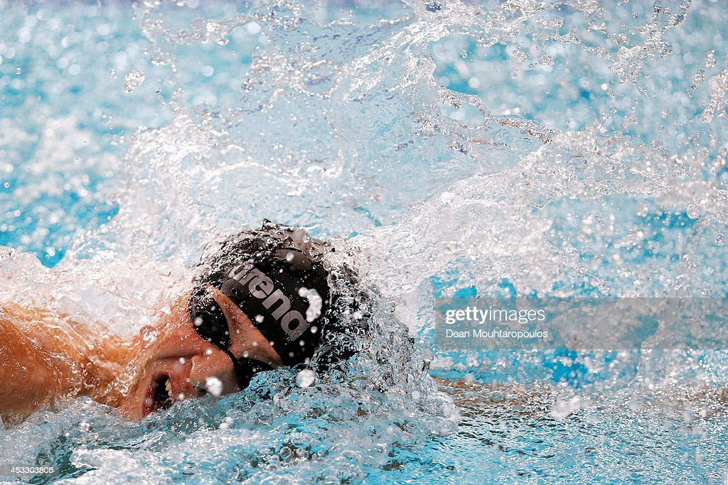 Dmitry Bartasinskiy of Russia on his way to winning the gold medal in the Men's 400m Freestyle S10 Final during day four of the IPC Swimming European Championships held at the Pieter van den Hoogenband Swimming Stadium on August 7, 2014 in Eindhoven, Netherlands.