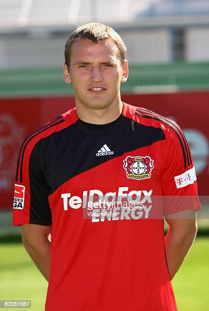 Dmitry Bulykin poses for a photo during the Bundesliga team presentation of Bayer Leverkusen on July 24 2008 in Leverkusen Germany