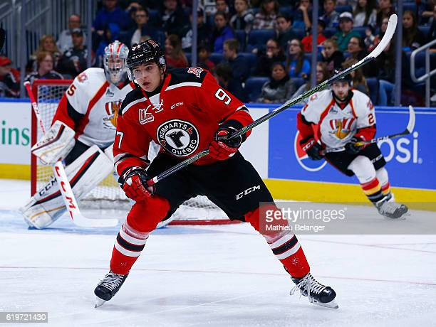 Dmitry Buynitskiy of the Quebec Remparts skates against the Baie Comeau Drakkar during their QMJHL hockey game at the Centre Videotron on October 14...