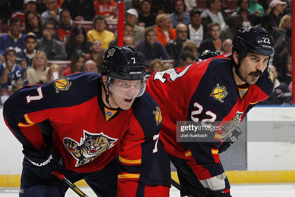 Dmitry Kulikov #7 and George Parros #22 of the Florida Panthers prepare for a face off against the Toronto Maple Leafs at the BB&T Center on February 18, 2013 in Sunrise, Florida. The Maple Leafs defeated the Panthers 3-0.