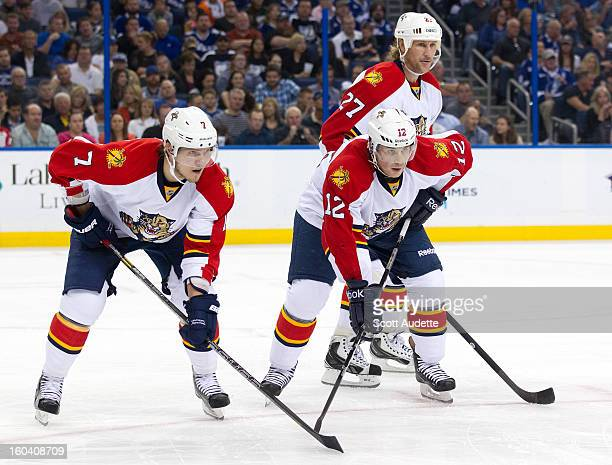 Dmitry Kulikov Jack Skille and Alex Kovalev of the Florida Panthers against the Tampa Bay Lightning at the Tampa Bay Times Forum on January 29 2013...