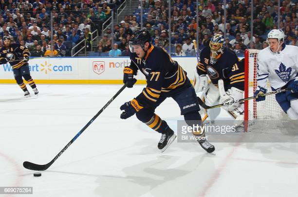 Dmitry Kulikov of the Buffalo Sabres skates against the Toronto Maple Leafs during an NHL game at the KeyBank Center on April 3 2017 in Buffalo New...