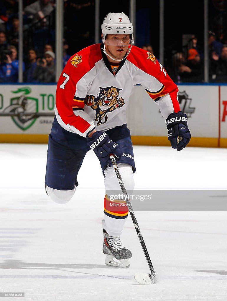 Dmitry Kulikov #7 of the Florida Panthers skates against the New York Islanders at Nassau Veterans Memorial Coliseum on April 16, 2013 in Uniondale, New York. The New York Islanders defeated the Florida Panthers 5-2.