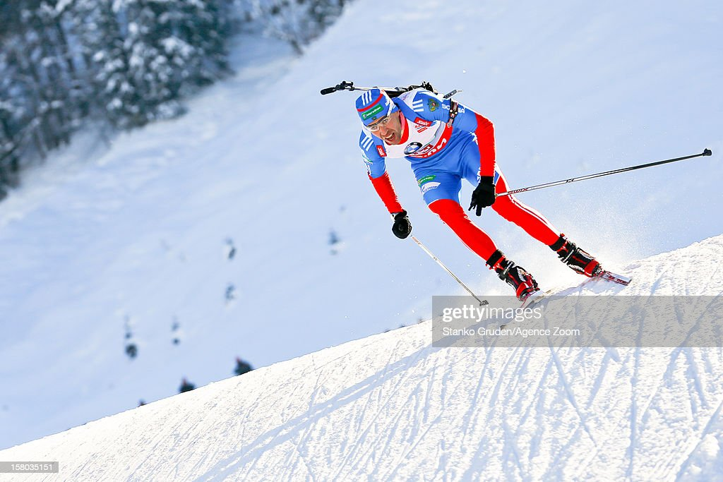 Dmitry Malyshko of Russia take 3rd place during the IBU Biathlon World Cup Men's Relay on December 09, 2012 in Hochfilzen, Austria.
