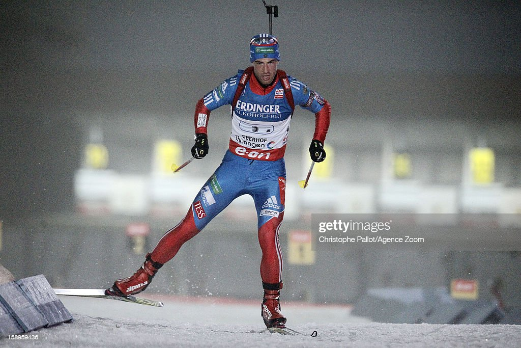 Dmitry Malyshko of Russia takes 1st place during the IBU Biathlon World Cup Men's Relay on January 04, 2013 in Oberhof, Germany.