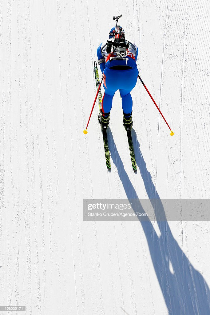 Dmitry Malyshko of Russia takes 3rd place during the IBU Biathlon World Cup Men's Relay on December 09, 2012 in Hochfilzen, Austria.