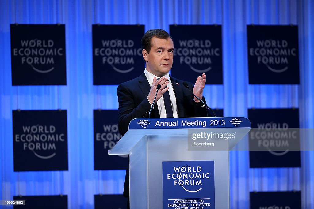 Dmitry Medvedev, Russia's prime minister, delivers the opening keynote speech on the first day of the World Economic Forum (WEF) in Davos, Switzerland, on Wednesday, Jan. 23, 2013. World leaders, Influential executives, bankers and policy makers attend the 43rd annual meeting of the World Economic Forum in Davos, the five day event runs from Jan. 23-27. Photographer: Chris Ratcliffe/Bloomberg via Getty Images