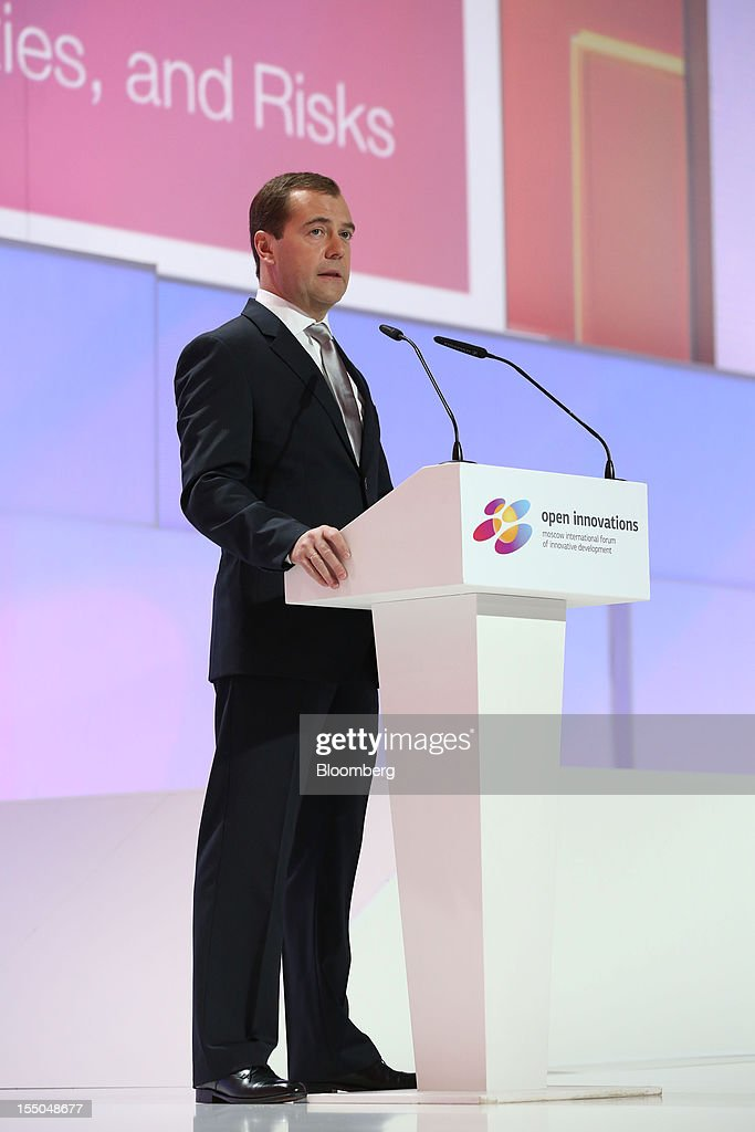 Dmitry Medvedev, Russia's prime minister, speaks during a session of the Open Innovations International Forum for Innovative Development in Moscow, Russia, on Wednesday, Oct. 31, 2012. The Forum brings together representatives from business, the authorities, and sciences, to share experiences and analyse fundamental global trends. Photographer: Andrey Rudakov/Bloomberg via Getty Images