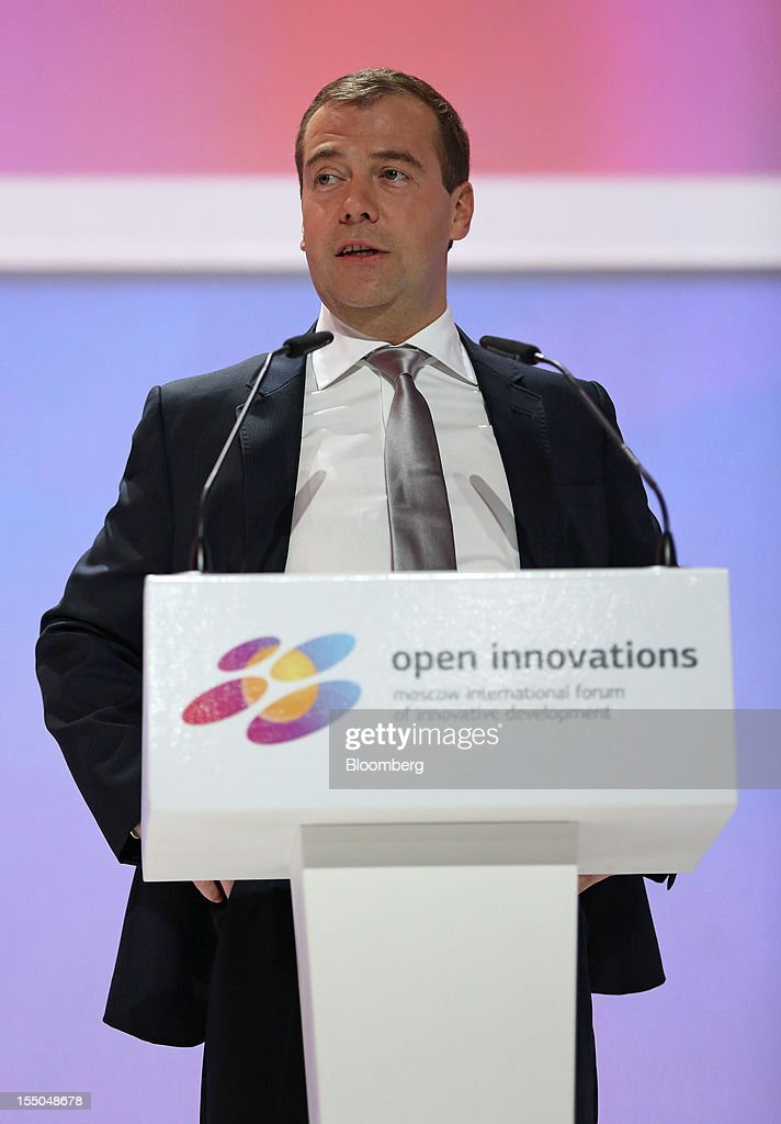 <a gi-track='captionPersonalityLinkClicked' href=/galleries/search?phrase=Dmitry+Medvedev&family=editorial&specificpeople=554704 ng-click='$event.stopPropagation()'>Dmitry Medvedev</a>, Russia's prime minister, speaks during a session of the Open Innovations International Forum for Innovative Development in Moscow, Russia, on Wednesday, Oct. 31, 2012. The Forum brings together representatives from business, the authorities, and sciences, to share experiences and analyse fundamental global trends. Photographer: Andrey Rudakov/Bloomberg via Getty Images