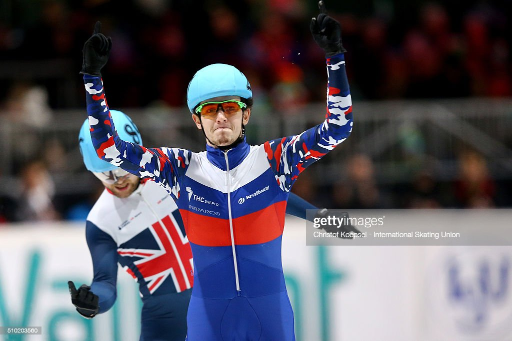Dmitry Migunov of Russia celebrates his victory of the men 500m final A during Day 3 of ISU Short Track World Cup at Sportboulevard on February 14, 2016 in Dordrecht, Netherlands.