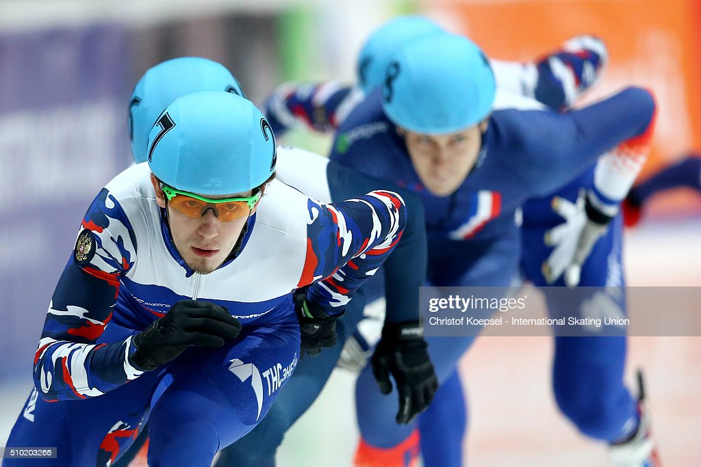 Dmitry Migunov of Russia during the men 500m final A during Day 3 of ISU Short Track World Cup at Sportboulevard on February 14, 2016 in Dordrecht, Netherlands.