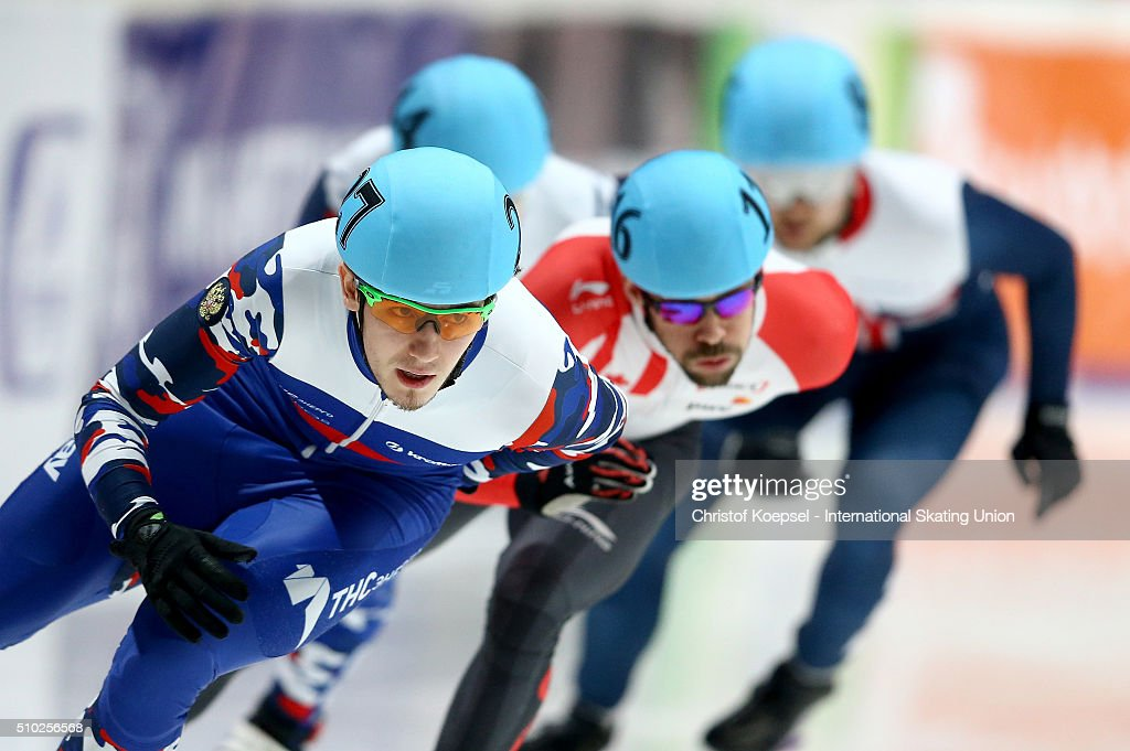 Dmitry Migunov of Russia skates during men 500m semifinal heat one during Day 3 of ISU Short Track World Cup at Sportboulevard on February 14, 2016 in Dordrecht, Netherlands.