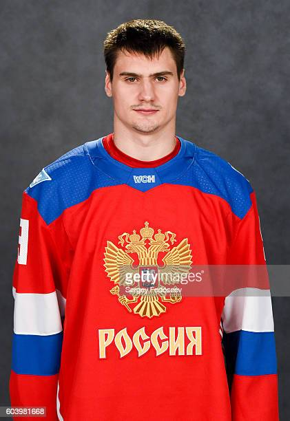 Dmitry Orlov of Team Russia poses for his official headshot for the 2016 World Cup of Hockey Tournament on September 5 2016 at the SP Yubileyny in...