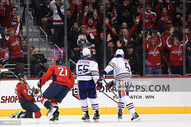 Dmitry Orlov of the Washington Capitals celebrates after scoring a goal against the Edmonton Oilers in the third period at Verizon Center on November...