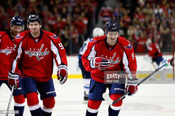 Dmitry Orlov of the Washington Capitals celebrates after scoring a goal in the second period against the Winnipeg Jets at Verizon Center on November...