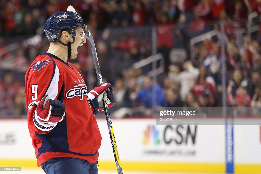 Dmitry Orlov #9 of the Washington Capitals celebrates after scoring a goal against the Toronto Maple Leafs in the first period at Verizon Center on January 3, 2017 in Washington, DC.