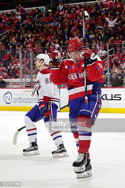 Dmitry Orlov of the Washington Capitals celebrates his third period goal during their game against the Montreal Canadiens at Verizon Center on...