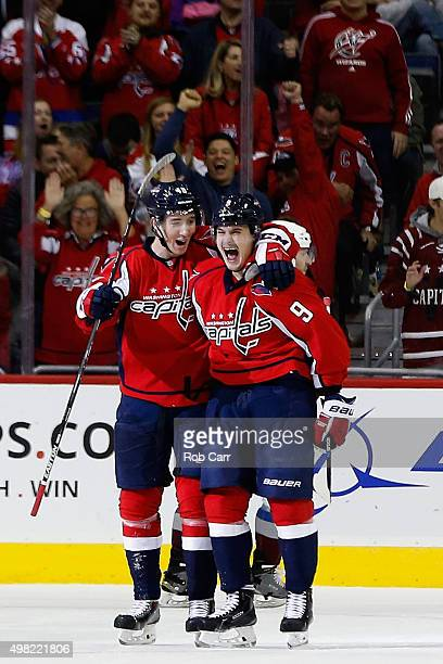 Dmitry Orlov of the Washington Capitals celebrates scoring a third period goal with Stanislav Galiev against the Colorado Avalanche at Verizon Center...