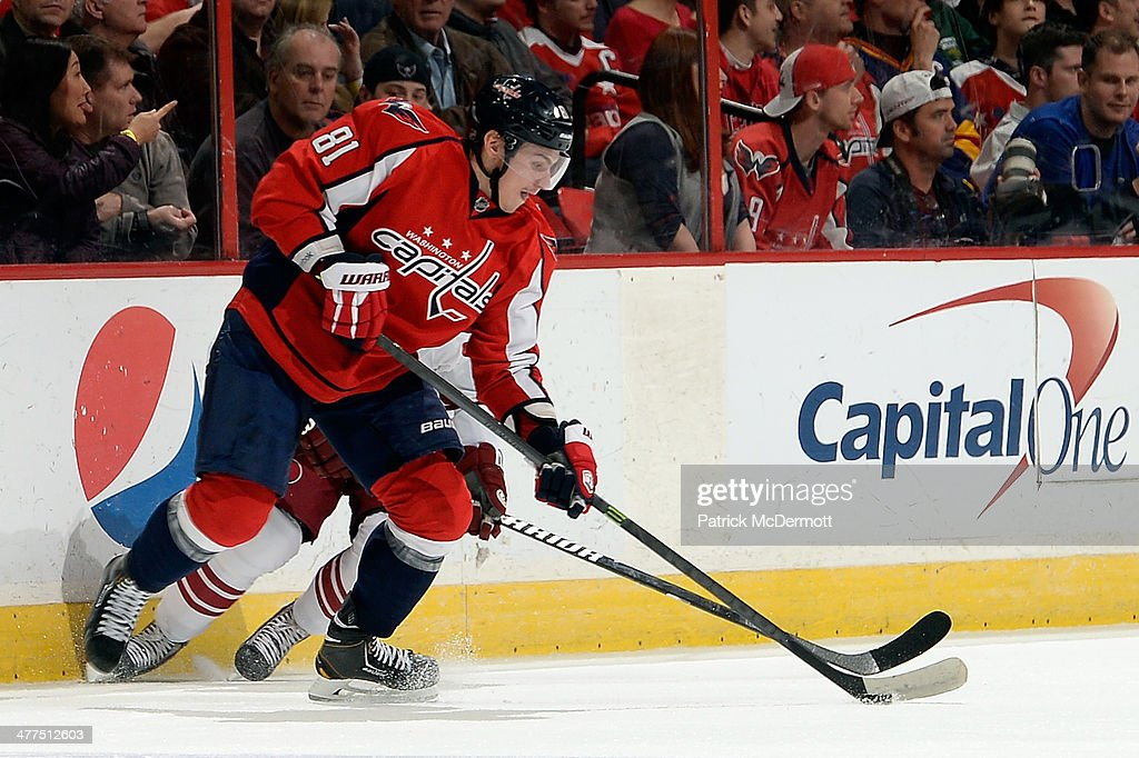 <a gi-track='captionPersonalityLinkClicked' href=/galleries/search?phrase=Dmitry+Orlov&family=editorial&specificpeople=4782302 ng-click='$event.stopPropagation()'>Dmitry Orlov</a> #81 of the Washington Capitals controls the puck in the first period during an NHL game at Verizon Center on March 8, 2014 in Washington, DC.