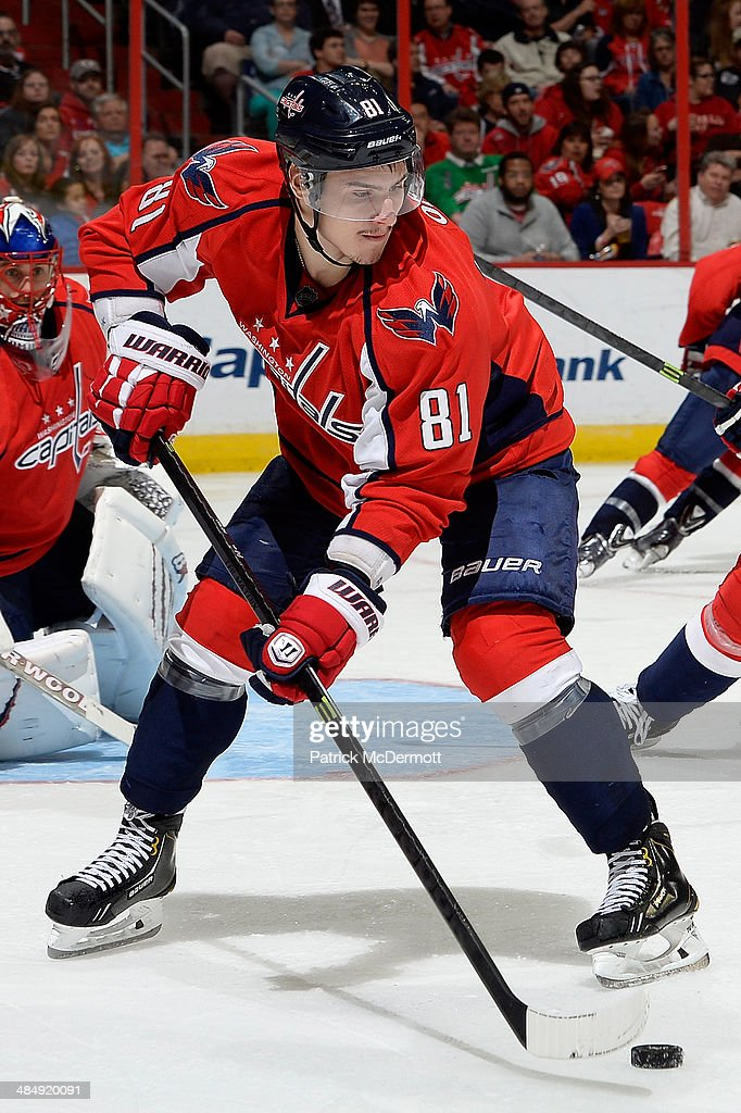 <a gi-track='captionPersonalityLinkClicked' href=/galleries/search?phrase=Dmitry+Orlov&family=editorial&specificpeople=4782302 ng-click='$event.stopPropagation()'>Dmitry Orlov</a> #81 of the Washington Capitals controls the puck in the third period during an NHL game against the Chicago Blackhawks at Verizon Center on April 11, 2014 in Washington, DC.