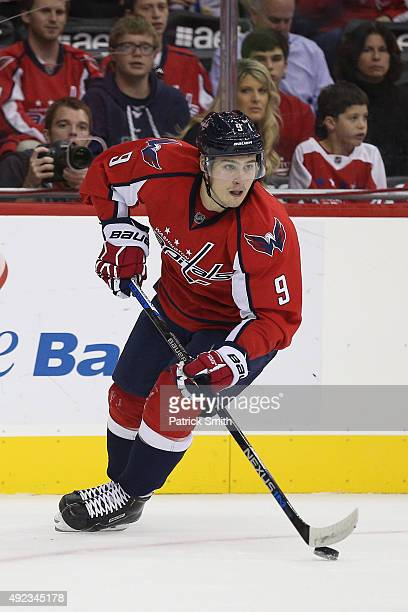 Dmitry Orlov of the Washington Capitals in action against the New Jersey Devils at Verizon Center on October 10 2015 in Washington DC The Washington...